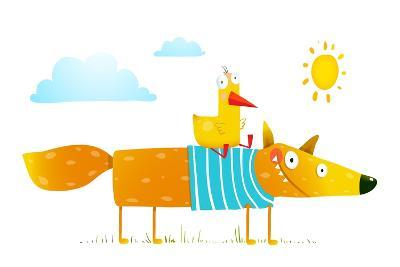 Duck Sitting on Fox Friends. . Animal Character, Creature Mammal in Nature, Raster Variant.-Popmarleo-Art Print