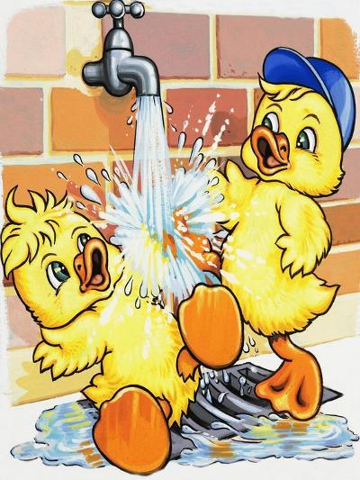 Ducklings Discover How to Use a Tap--Giclee Print