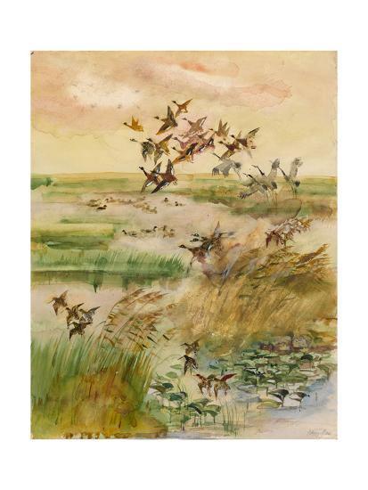 Ducks and Cranes, 1966-Valentin Ivanovich Kurdov-Giclee Print