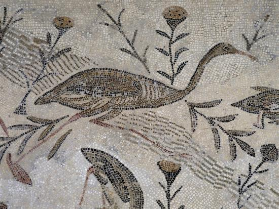 Ducks and Flowers, Detail from Mosaic Depicting Nilotic Landscape, Uncovered in Thysdrus--Giclee Print