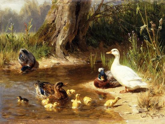 Ducks at the Water's Edge-Carl Jutz-Giclee Print