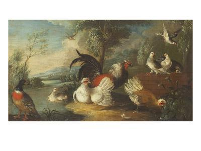 Ducks, Poultry and Doves by a Wall on a River Bank-Marmaduke Cradock-Giclee Print