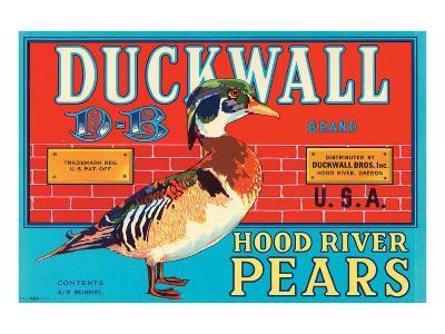 Duckwall D-B Brand Hood River Pears--Art Print
