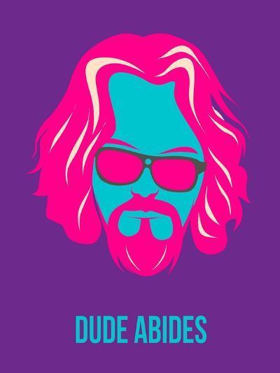 Dude Abides Purple Poster-Anna Malkin-Art Print