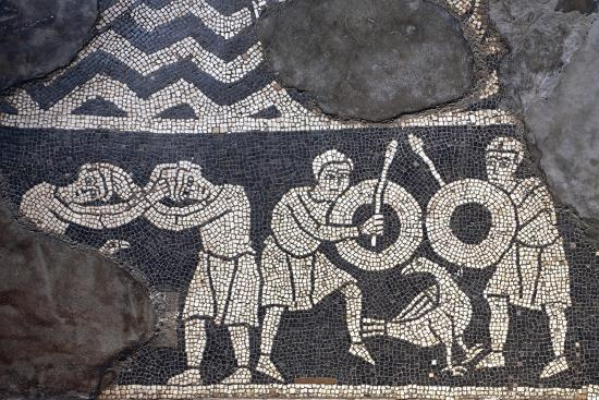 Dueling Scene, Detail from the Mosaic Floor, the Crypt of the Basilica of San Savino, Piacenza--Giclee Print