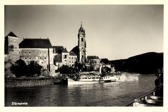 Dürnstein Niederösterreich, Blick Ü. Wasser, Dampfer--Giclee Print