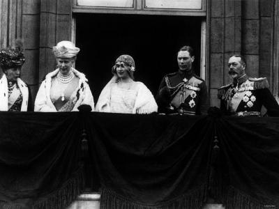 Duke of York on Royal Balcony Buckingham Palace with Bride Lady Elizabeth Bowes Lyon at Wedding--Photographic Print
