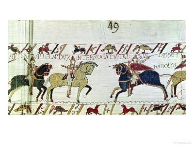 Duke William Asks Vital If He Has Seen Harold's Army, Detail from the Bayeux Tapestry, Before 1082--Giclee Print