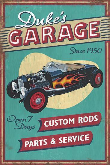 Dukes Garage - Vintage Sign-Lantern Press-Art Print