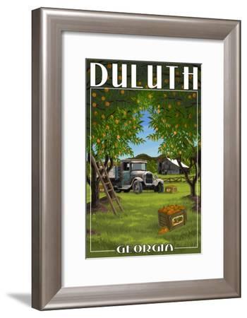 Duluth, Georgia - Peach Orchard with Truck-Lantern Press-Framed Art Print