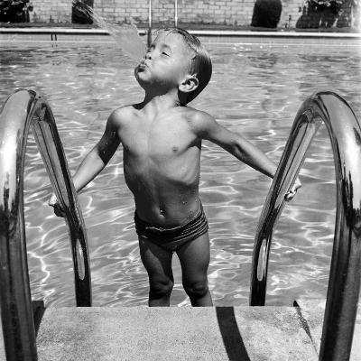 Duncan Richardson, 3-Year-Old Swimming Prodigy, Spouting Water Like a Whale, Town House Pool-Martha Holmes-Photographic Print