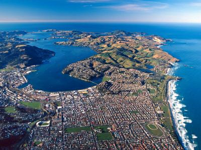 Dunedin, Otago Peninsula Harbor and Pacific Ocean, New Zealand-David Wall-Photographic Print