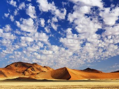 Dunes in Namib Desert Under White Clouds-Frank Krahmer-Photographic Print
