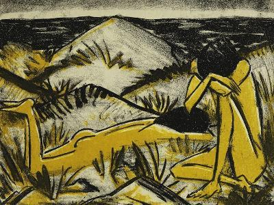 Dunes One Sitting and Girl Lying Down (Two Girls in the Sylt Dunes)-Otto		 Mueller-Giclee Print