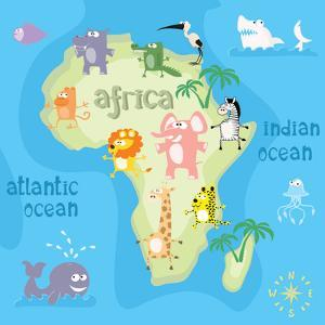 Concept Design Map of African Continent with Animals Drawing in Funny Cartoon Style for Kids and Pr by Dunhill