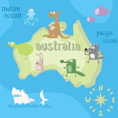 Concept Design Map of Australian Continent with Animals Drawing in Funny Cartoon Style for Kids And by Dunhill