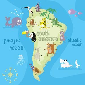 Concept Design Map of South American Continent with Animals Drawing in Funny Cartoon Style for Kids by Dunhill