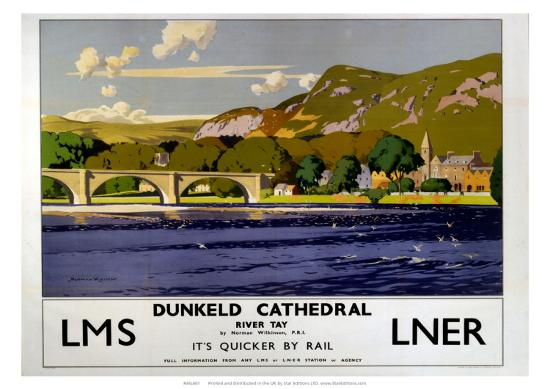 Dunkeld Cathedral, River Tay, LMS/LNER, c.1923-1947-Norman Wilkinson-Giclee Print