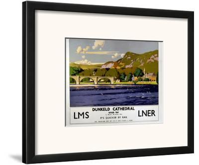 Dunkeld Cathedral, River Tay, LMS/LNER, c.1923-1947-Norman Wilkinson-Framed Art Print