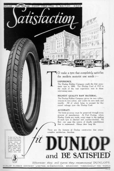 Dunlop Advertisment, 1923--Giclee Print