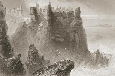 Dunluce Castle, County Antrim, Northern Ireland, from 'scenery and Antiquities of Ireland' by…-William Henry Bartlett-Giclee Print