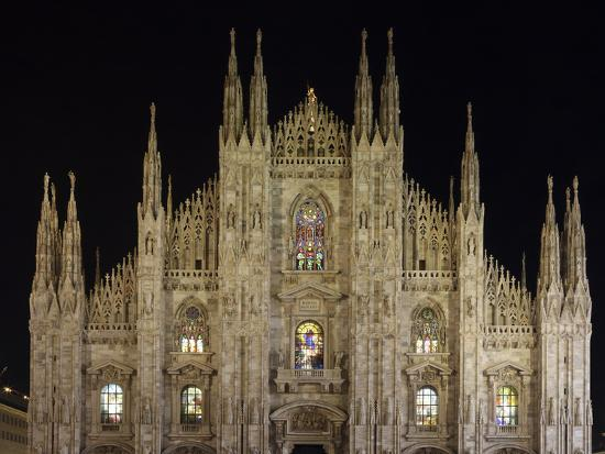 Duomo at Night, Milan, Lombardy, Italy, Europe-Vincenzo Lombardo-Photographic Print