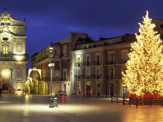 Duomo Square at Christmas, Ortygia, Siracusa, Sicily, Italy, Europe-Vincenzo Lombardo-Photographic Print