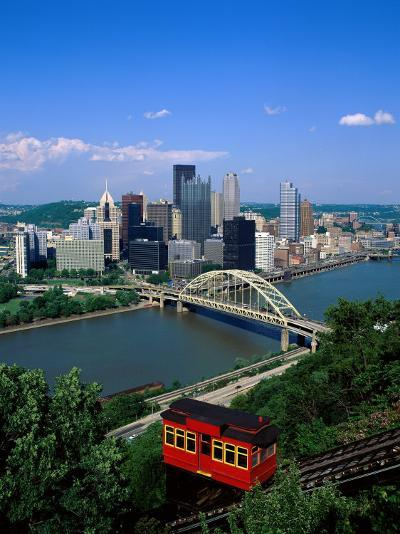Duquesne Incline Cable Car and Ohio River, Pittsburgh, Pennsylvania, USA-Steve Vidler-Photographic Print