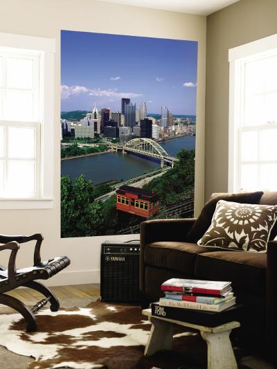 Duquesne Incline Cable Car and Ohio River, Pittsburgh, Pennsylvania, USA-Steve Vidler-Wall Mural