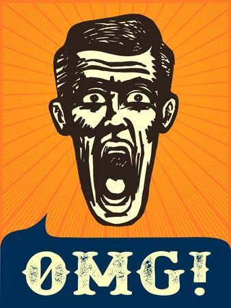 Omg! Jaw Dropping, Retro Vintage Man Shocked or Frightened, Wow!