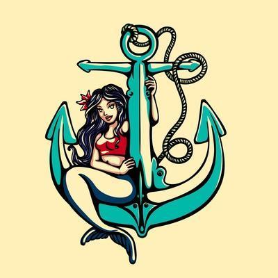 Pretty Siren Mermaid Pin up Girl Sitting on Anchor, Sailor Old School Style Tattoo Vector Illustrat