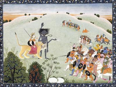 Durga and Kali Standing before the Advancing Host of Demons, C.1800-1820--Giclee Print