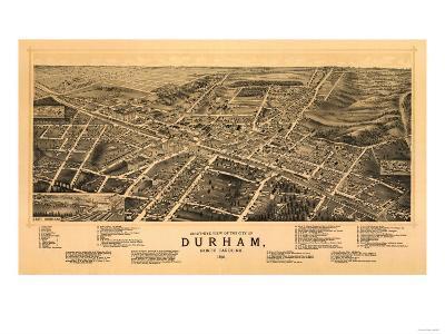 Durham, North Carolina - Panoramic Map-Lantern Press-Art Print