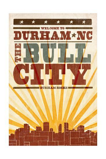 Durham, North Carolina - Skyline and Sunburst Screenprint Style-Lantern Press-Art Print