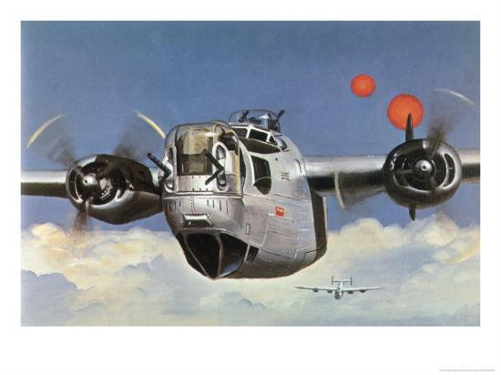 """During World War Two an American B-24 """"Liberator"""" Encounters """"Foo Fighters"""" During a Bombing Raid-Brian Withers-Giclee Print"""