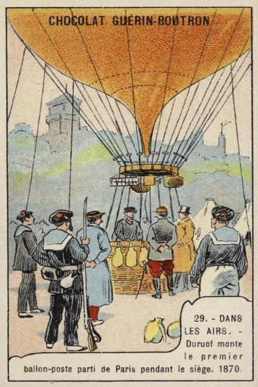 Duruof Making the First Postal Balloon Flight During the Siege of Paris, 1870--Giclee Print