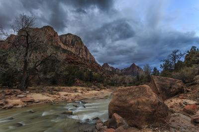 Dusk Beside the Virgin River under a Threatening Sky in Winter-Eleanor-Photographic Print