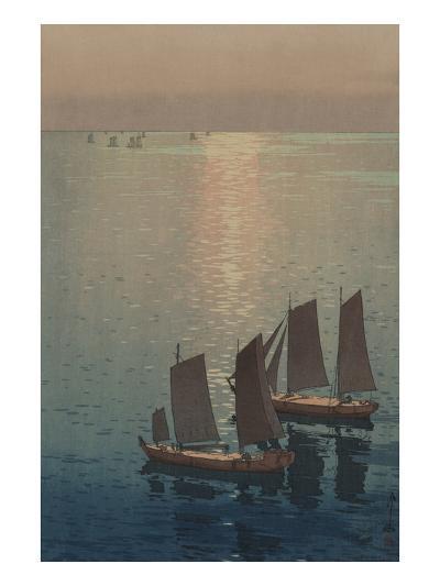 Dusk Blankets a Still Lake over Sailboats--Art Print