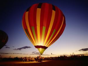 Dusk, Colorful Hot Air Balloon, Albuquerque, New Mexico, USA