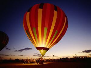 Dusk, Colorful Hot Air Balloon, Albuquerque, New Mexico, USA