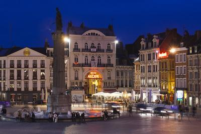 Dusk, Grand Place, Lille, French Flanders, France-Walter Bibikow-Photographic Print