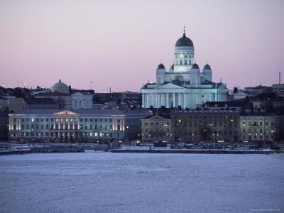 Dusk Light on Lutheran Christian Cathedral in Winter Snow, Across the Frozen Baltic Sea, Finland-Gavin Hellier-Photographic Print