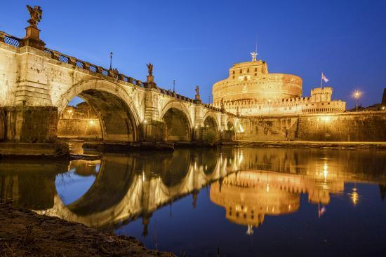 Dusk on Ancient Palace of Castel Sant'Angelo with Statues of Angels-Roberto Moiola-Photographic Print