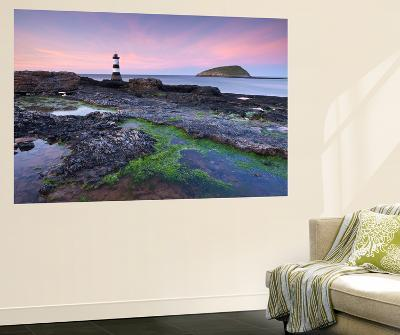 Dusk over Penmon Point Lighthouse and Puffin Island, Isle of Anglesey, Wales, UK. Spring-Adam Burton-Wall Mural
