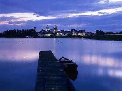 Dusk over the Old Town and Lake Inferiore, Mantua, Lombardy, Italy, Europe-Stuart Black-Photographic Print