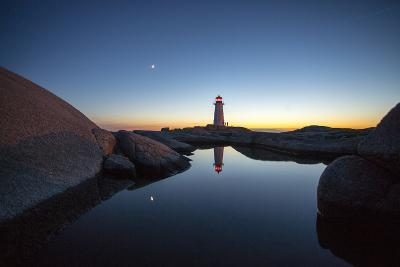 Dusk Settles into Night at Peggy's Point Lighthouse-Robbie George-Photographic Print