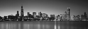 Dusk, Skyline, Chicago, Illinois, USA BW Black and White