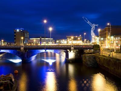 Dusk View at Laganside in Belfast-Chris Hill-Photographic Print