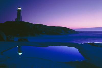 Dusk View of Lighthouse, Nova Scotia-David Nunuk-Photographic Print