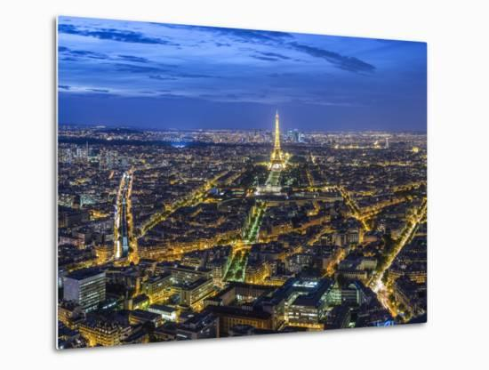 Dusk View over Eiffel Tower and Paris, France-Peter Adams-Metal Print